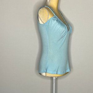Rebecca Beeson Tops - Rebecca Beeson Tank Top Soft-Blue Detailed Rayon M